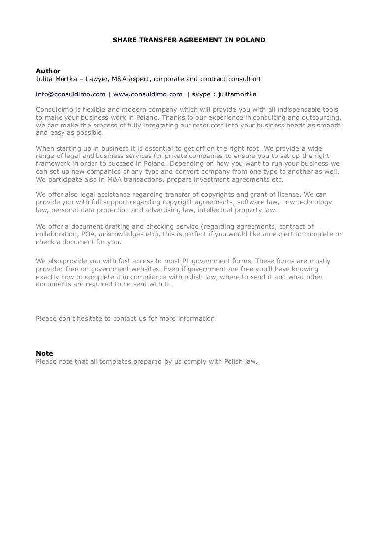 Share transfer agreement – Business Transfer Agreement