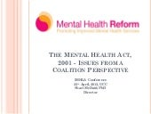 Shari McDaid - The Mental Health Act 2001: Issues from a Coalition Perspective