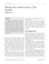 Sharing Away Trustees Powers - New Zealand - Trusts and Trustees