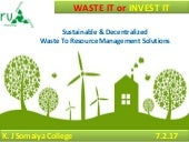 Sustainable & Decenrealized Waste To Resource Managemnt Sotuions