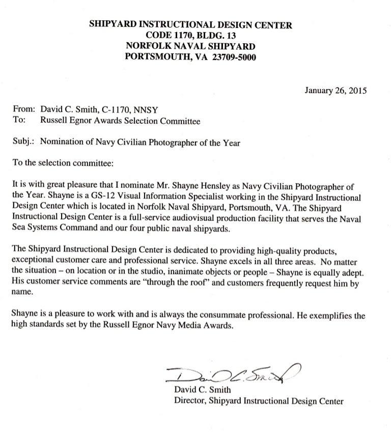E009 William Shayne Hensley Nomination Letter