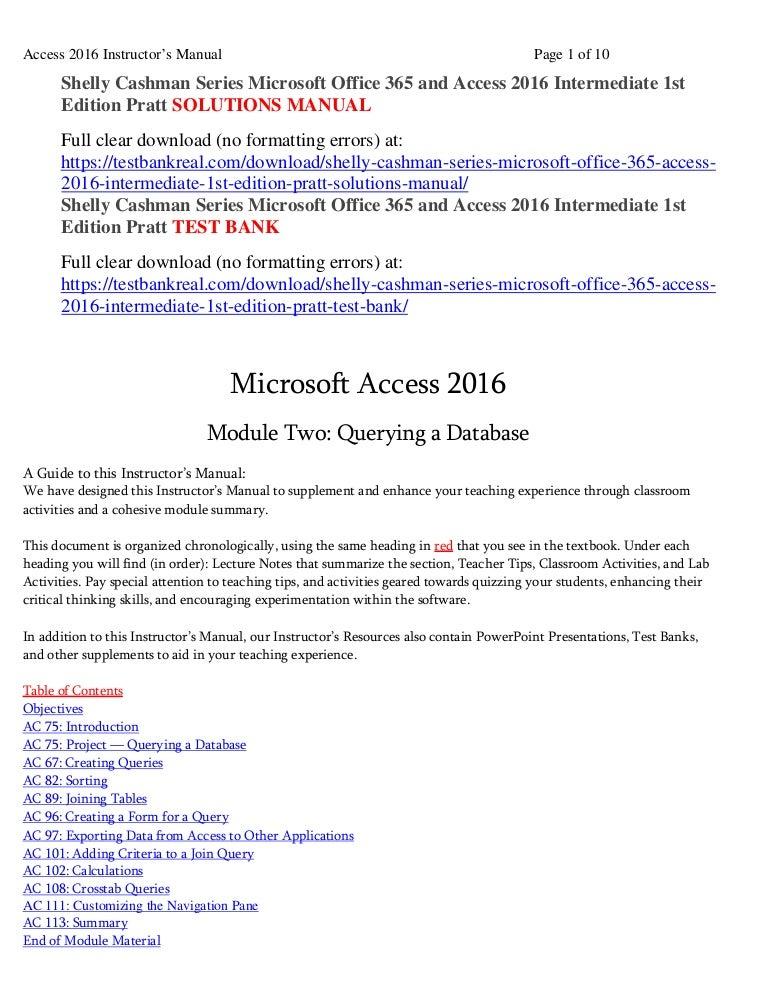 shelly cashman series microsoft office 365 and access 2016 intermedia rh slideshare net Lab Manual Fossils microsoft access 2007 tutorial & lab manual