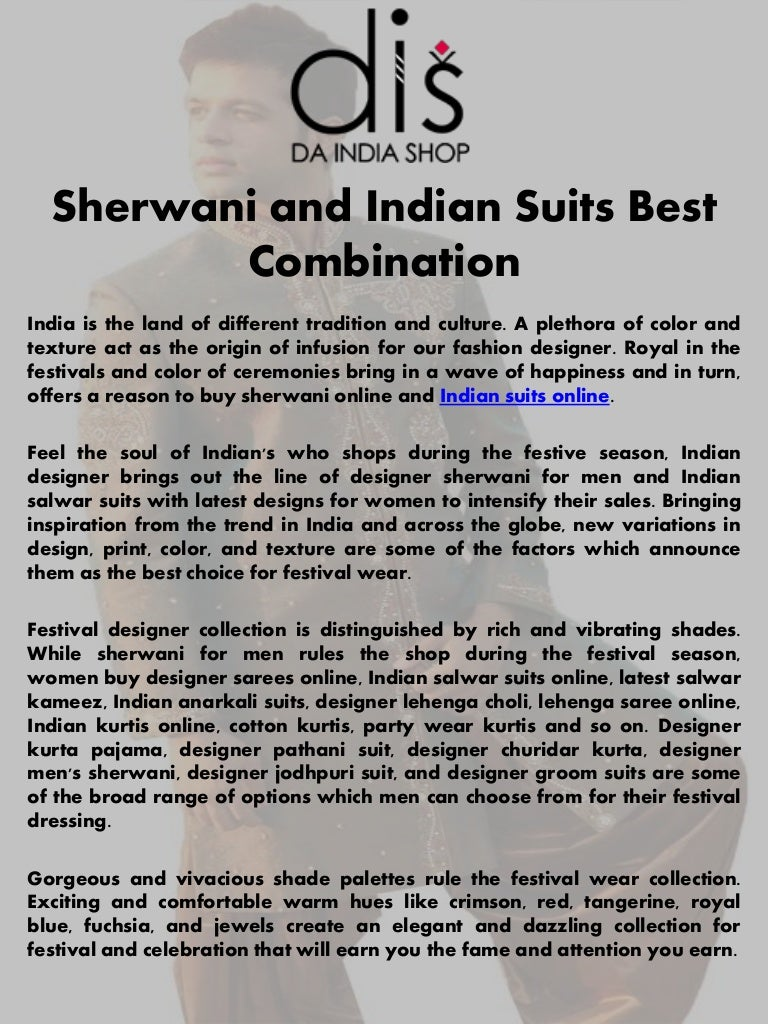 Sherwani And Indian Suits Best Combination