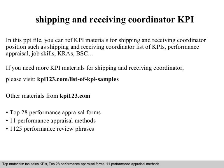 Shipping And Receiving Coordinator Kpi