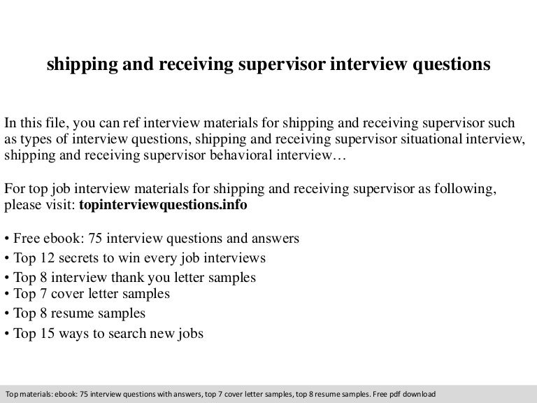 supervisor job interview questions answers