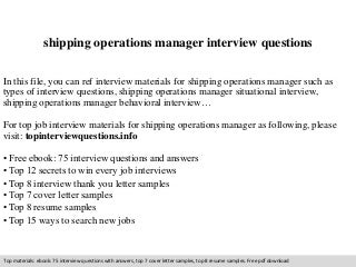 shipping operation executive resume