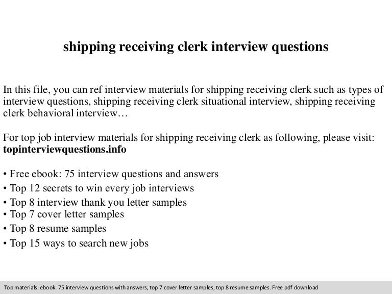 shipping receiving clerk interview questions - Shipping And Receiving Resume Sample