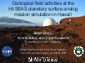 Geological field activities at the HI-SEAS planetary surface analog mission simulation in Hawai'i