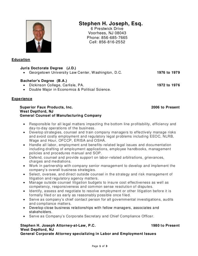 stephen h joseph resume labor and employment - Lawyer Resume Examples