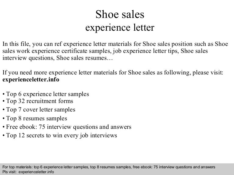 shoe sales resume