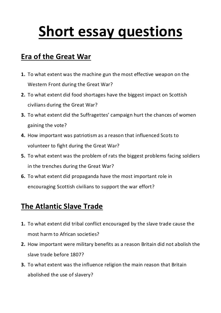 example national  history questions  short essay