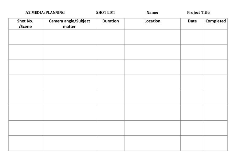 Blank Shot List