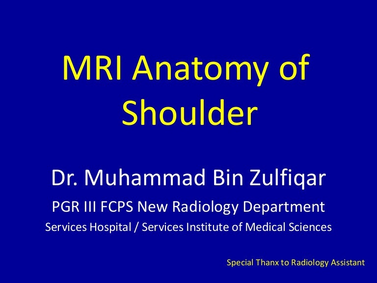 MRI of Shoulder anatomy