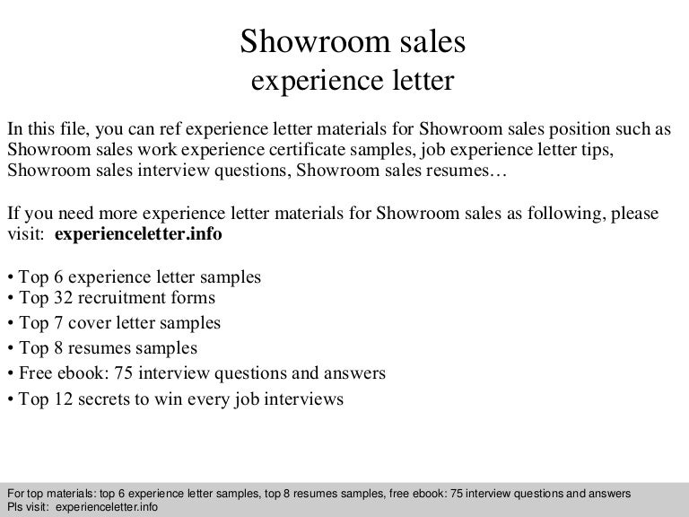 Showroom Sales Experience Letter