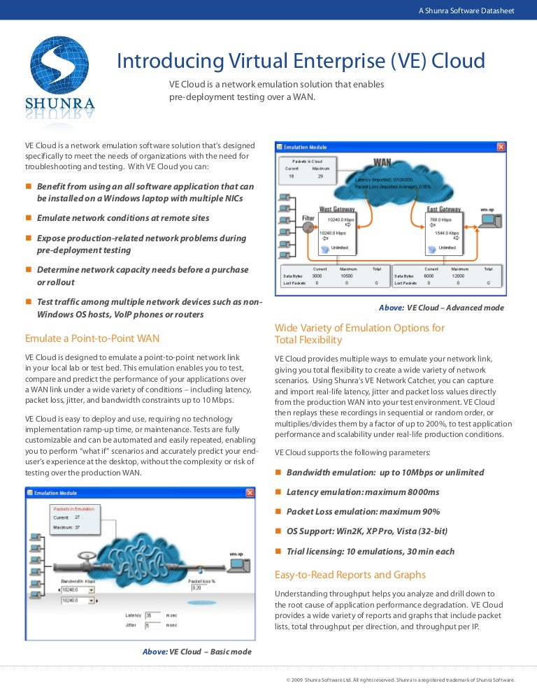 Shunra Software Cloud Datasheet