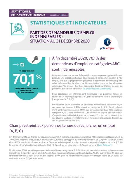 Part des demandeurs d'emploi indemnisables : situation au 31 décembre 2020
