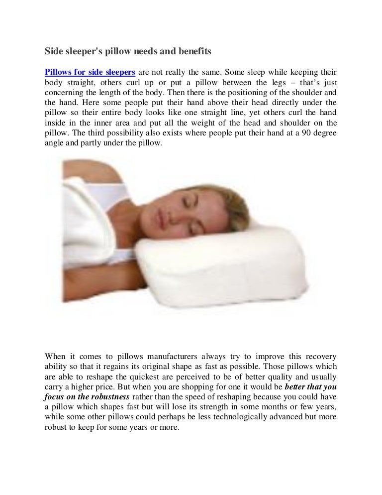 Side Sleeper S Pillow Needs And Benefits