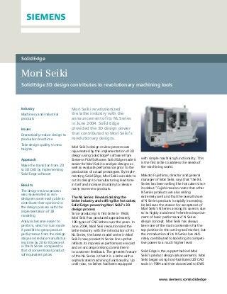 Caso de Sucesso Mori Seiki e Siemens PLM