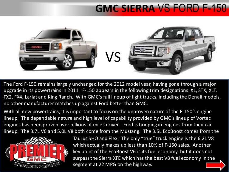 Ford F150 Truck vs GMC Sierra at Premier GMC