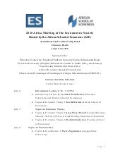 2018 Summer Institute of the Econometric Society