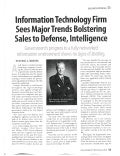 Signal Magazine: Information Technology Firm Sees Major Trends Bolstering Sales to Defense, Intelligence