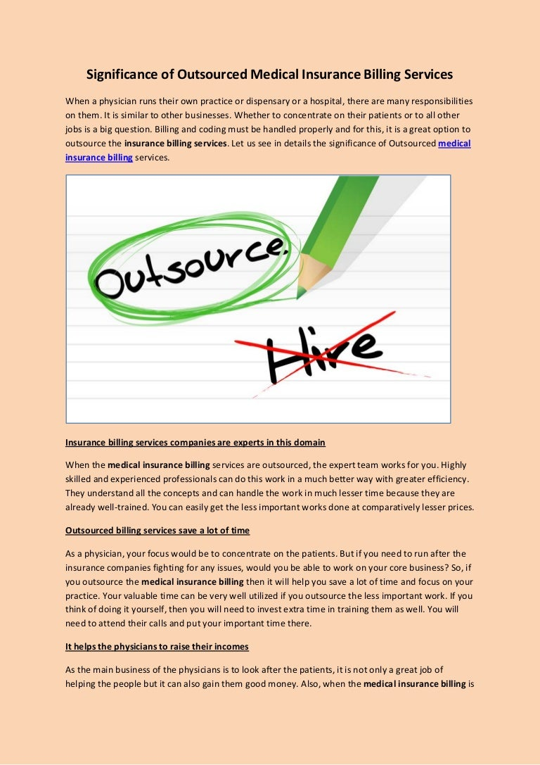 Significance of outsourced medical insurance billing services