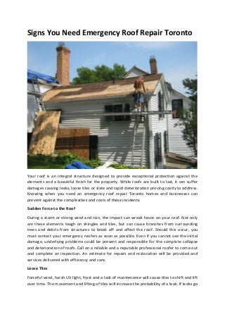 Signs You Need Emergency Roof Repair Toronto