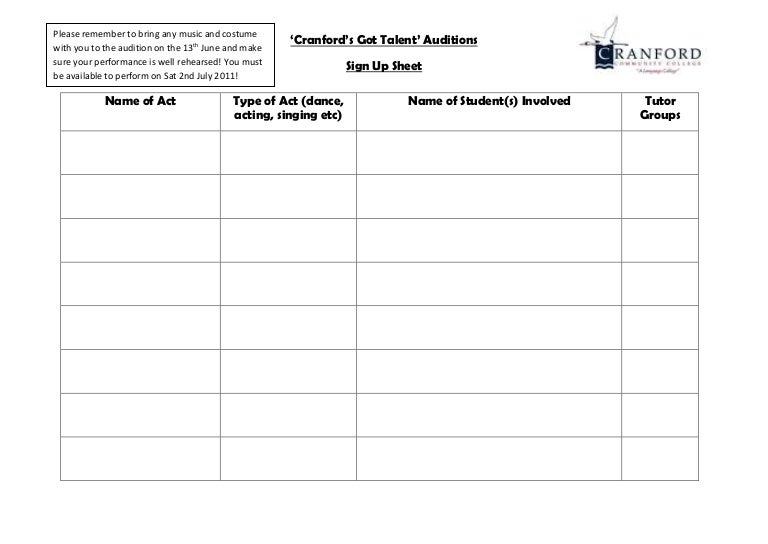 Sign up Sheet – Make a Signup Sheet