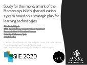 Study for the improvement of the Moroccan public higher education system based on a strategic plan for learning technologies