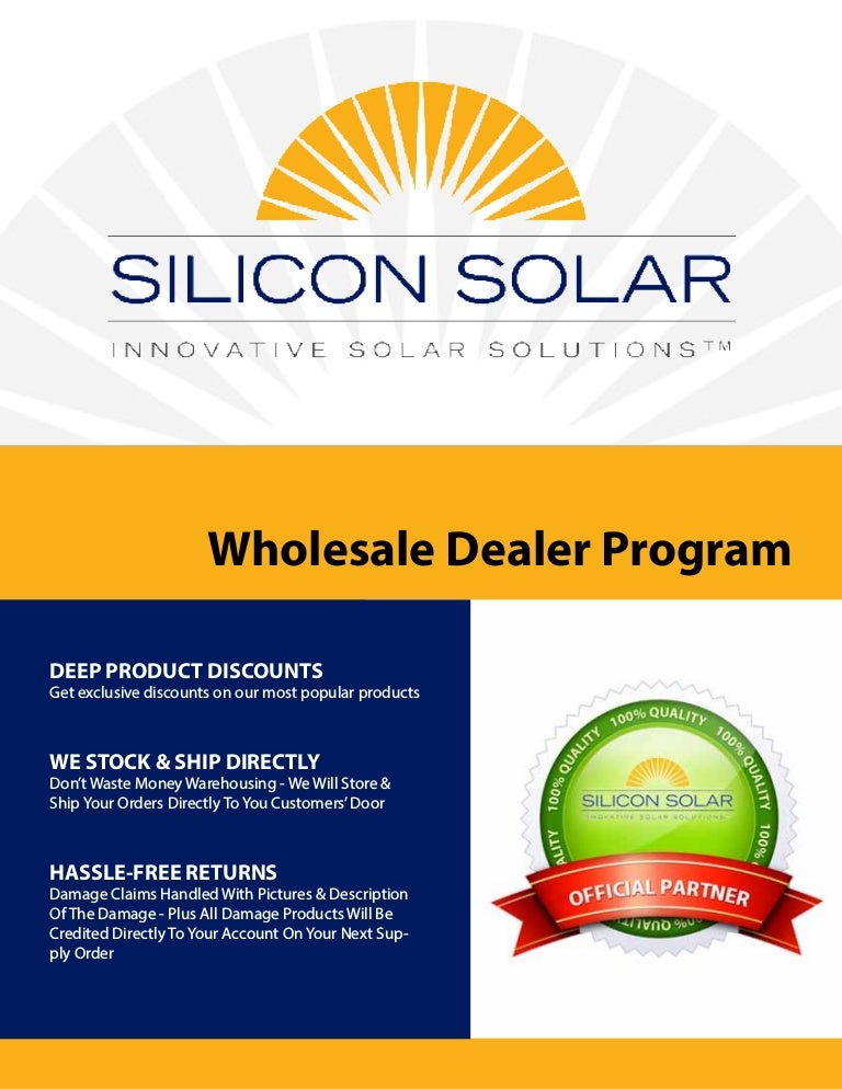 Silicon Solar Brochure - Wholesale & Dropshipping Program