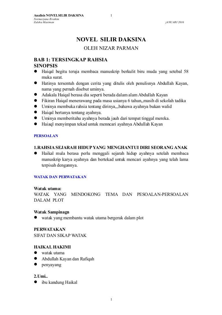 Komsas 2016 Novel Tingkatan 5 Zon Johor Silir Daksina Nizar Parman