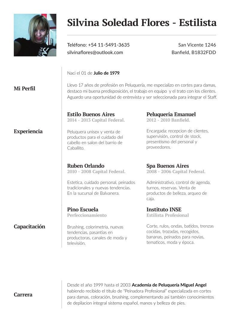 Perfecto Ejemplos De Curriculum Personal Estilista Regalo ...