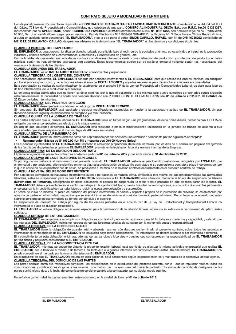 Contrato Sujeto a Modalidad Intermitente