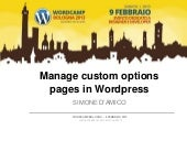 Manage custom options pages in Wordpress