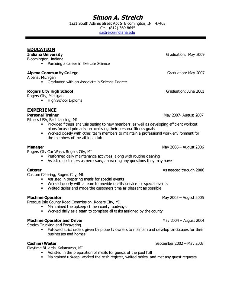 scientific resume examples - Sample Resume For Science Majors