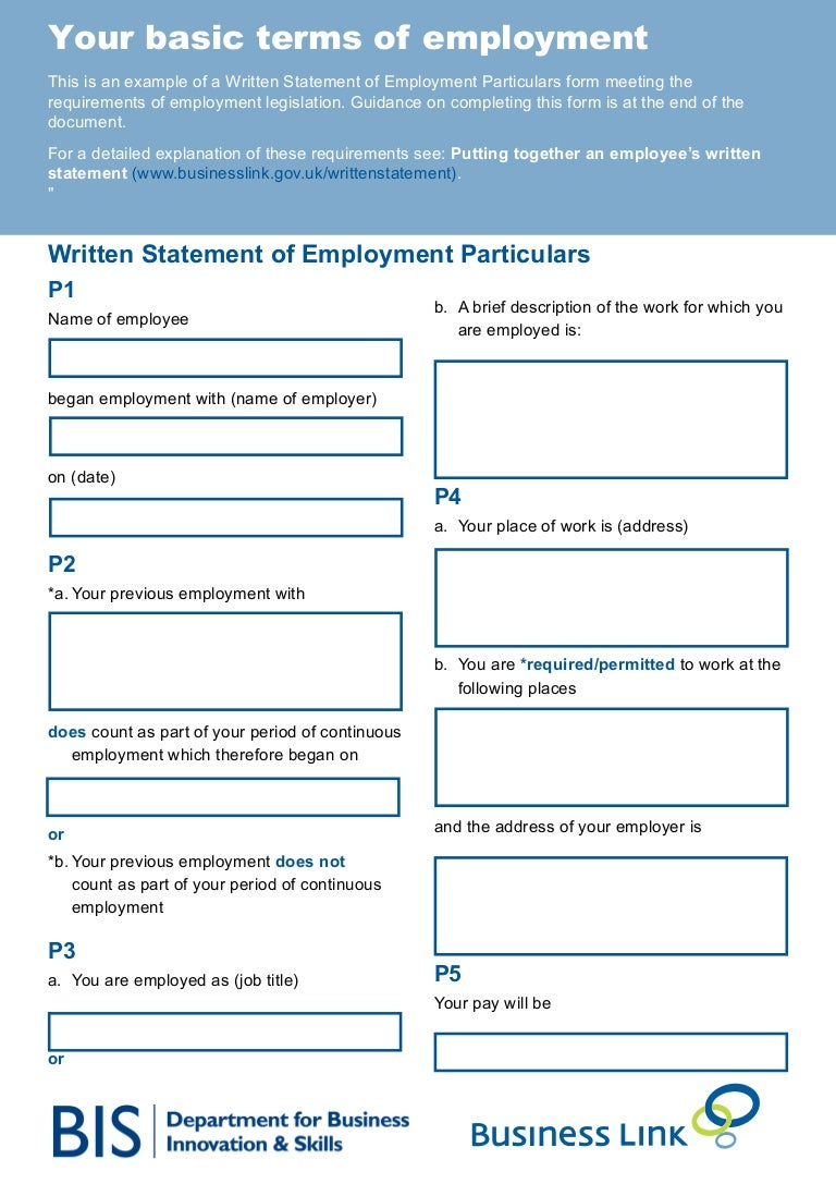 Your basic terms of employment for Basic contract of employment template