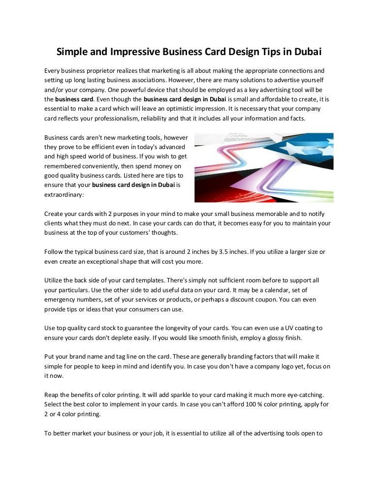 Simple and impressive business card design tips in dubai simpleandimpressivebusinesscarddesigntipsindubai 150122055424 conversion gate01 thumbnail 4gcb1421906102 reheart Choice Image