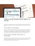 Simple Investment Mistakes to Avoid