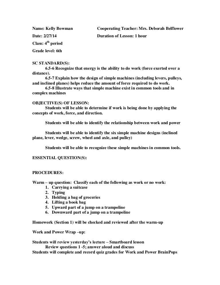 Simple machines – Work and Simple Machines Worksheet