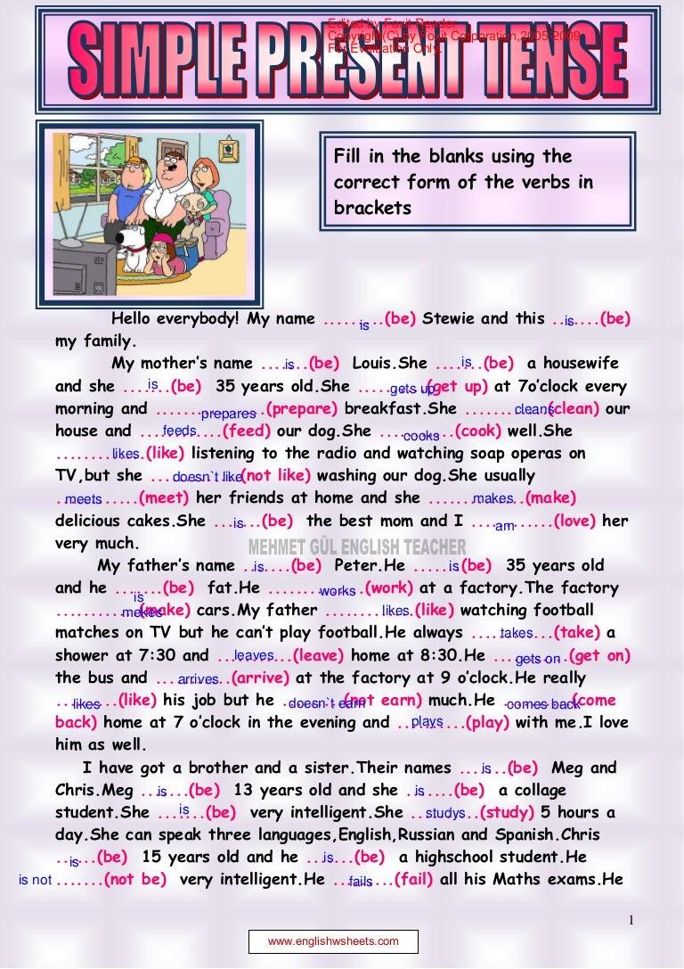 Workbooks simple reading worksheets : Simple present tense reading 1.pdf alejandra y jenifer