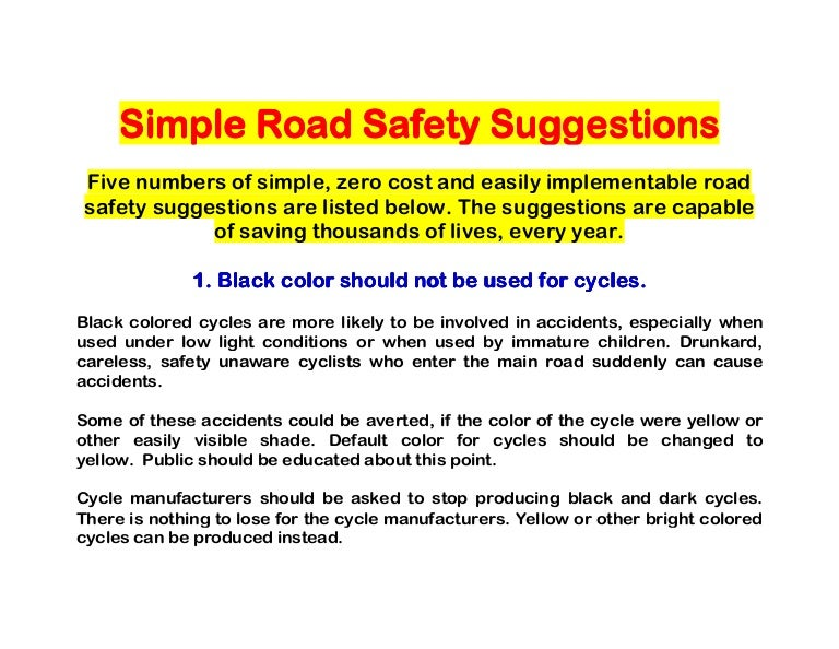 simple road safety suggestions document