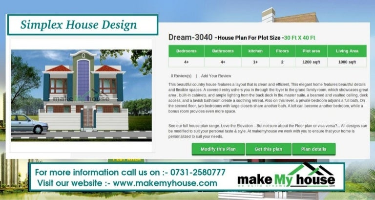 Simplex house design by Make My House