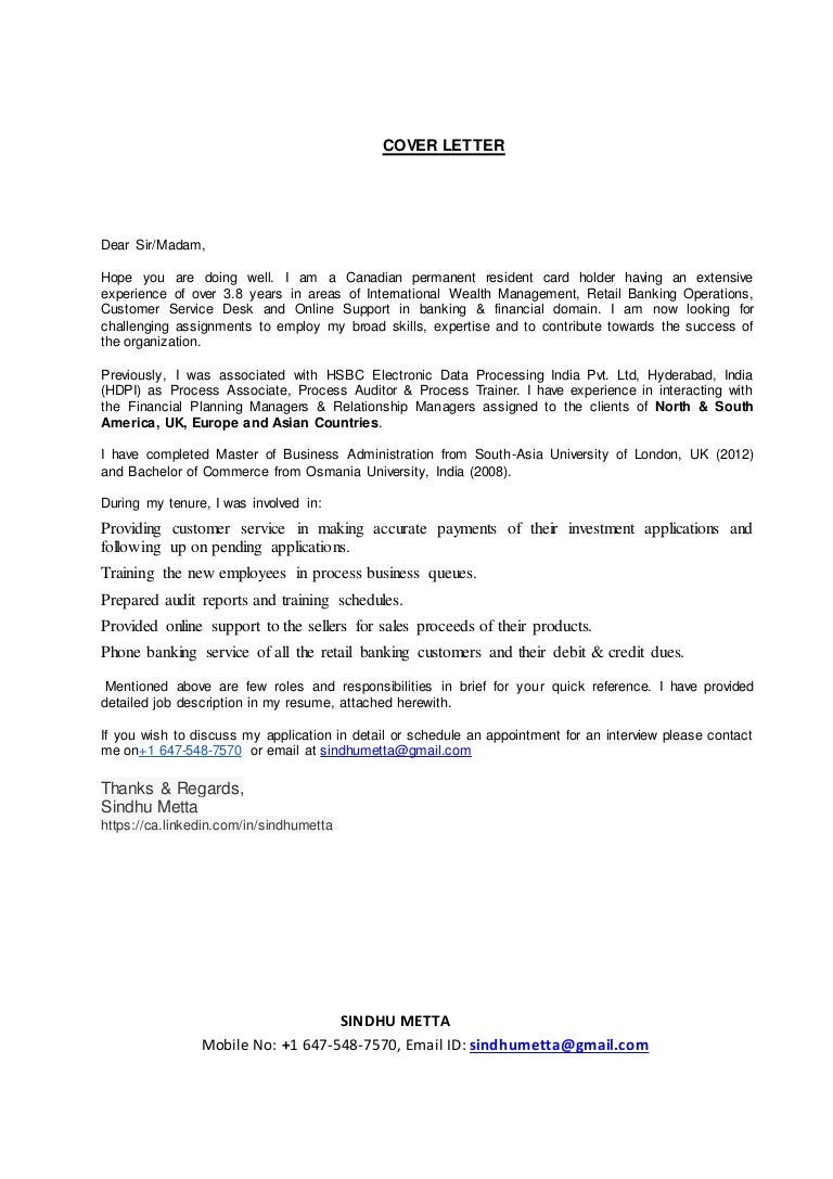 Cover Letters For Resumes Sindhu Metta Cover Letter Resume 55