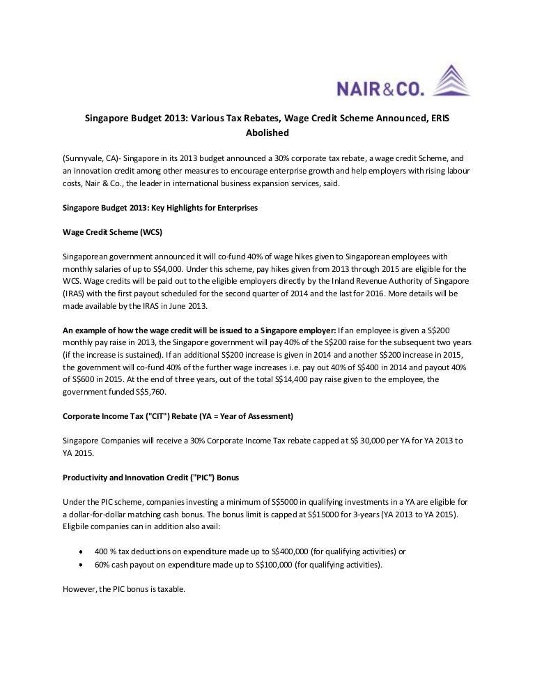 Singapore budget 2013: various tax rebates, wage credit scheme announ….