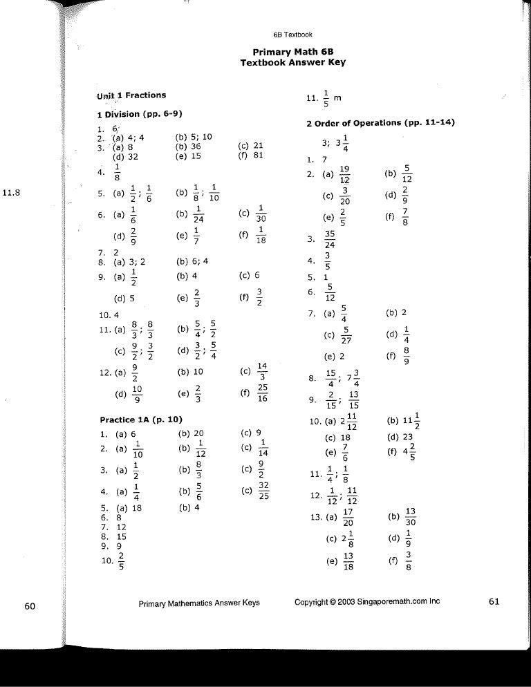 math worksheet : singapore math  6b  answer key : Math Workbook Answers