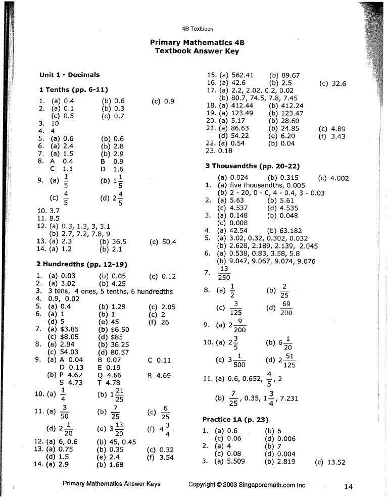 math worksheet : singapore math 4b answer key : Math Workbook Answers