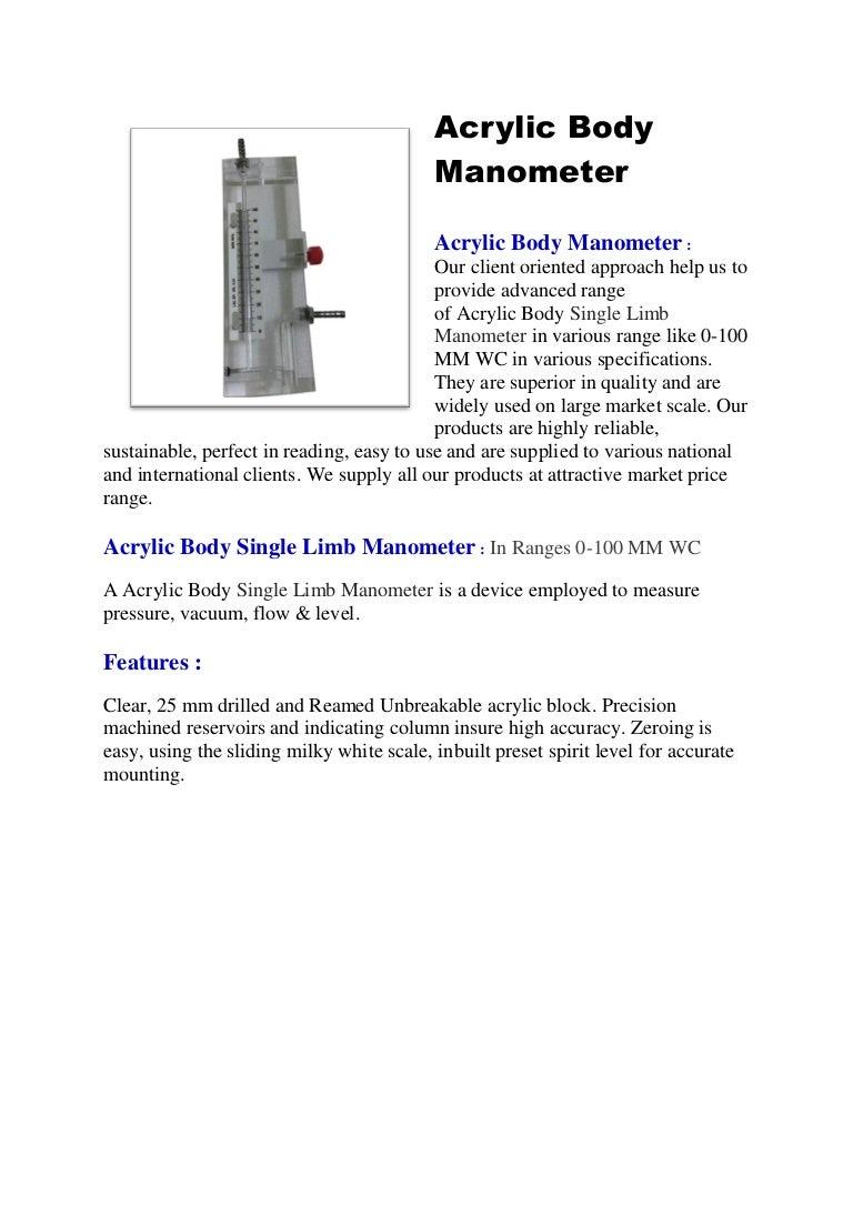 Single limb manometer pooptronica