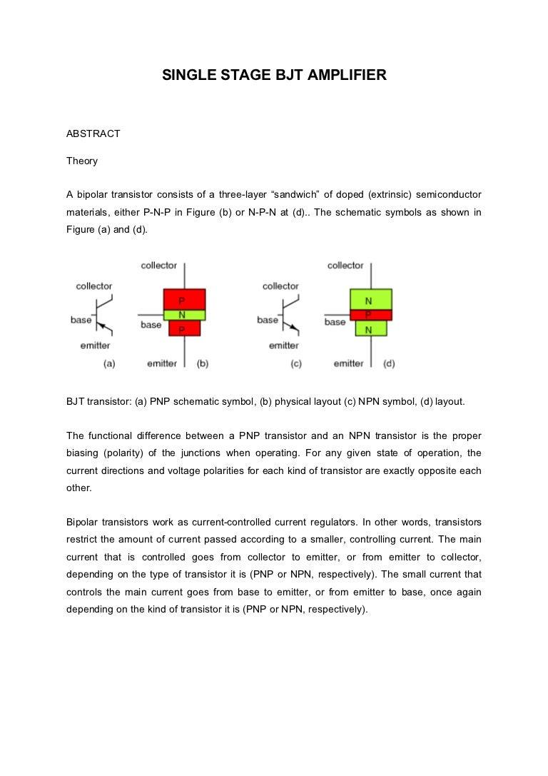 Single Stage Bjt Amplifier Experiment 6 Cb Technical Circuit