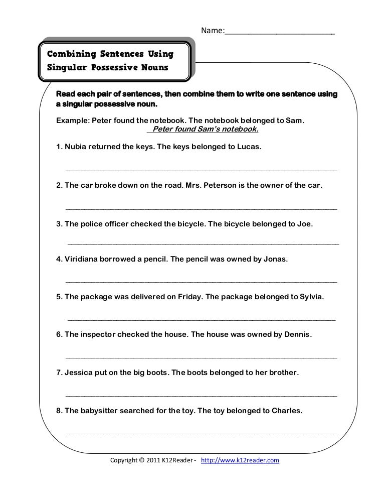Singular Possessive Nouns – Plural Possessive Nouns Worksheets