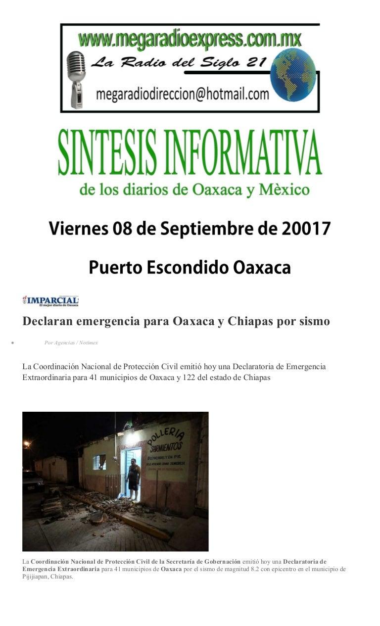 Sintesis informativa 08 09 2017